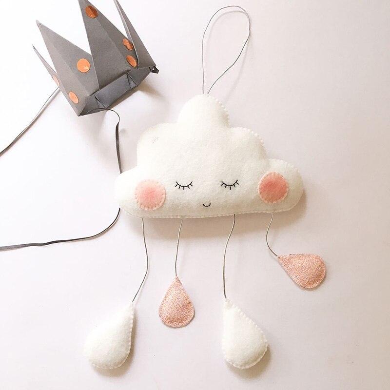 Настенный декор в скандинавском стиле с облаками и каплями дождя, украшения для детской комнаты, украшения дома, настенные аксессуары со смайликом и облаком, подвесные игрушки