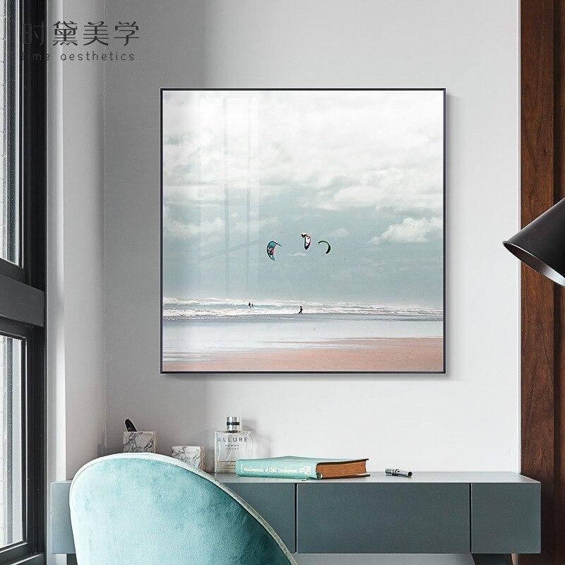 Póster con impresión estilo cuadro con nubes de mar cielo brillante nórdico imágenes artísticas de pared de paisaje marino moderno para sala de estar dormitorio decoración del hogar