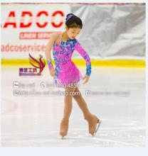 Robe de patinage artistique pour enfants compétition robes de patinage sur glace livraison gratuite filles robe à figure haute élastique