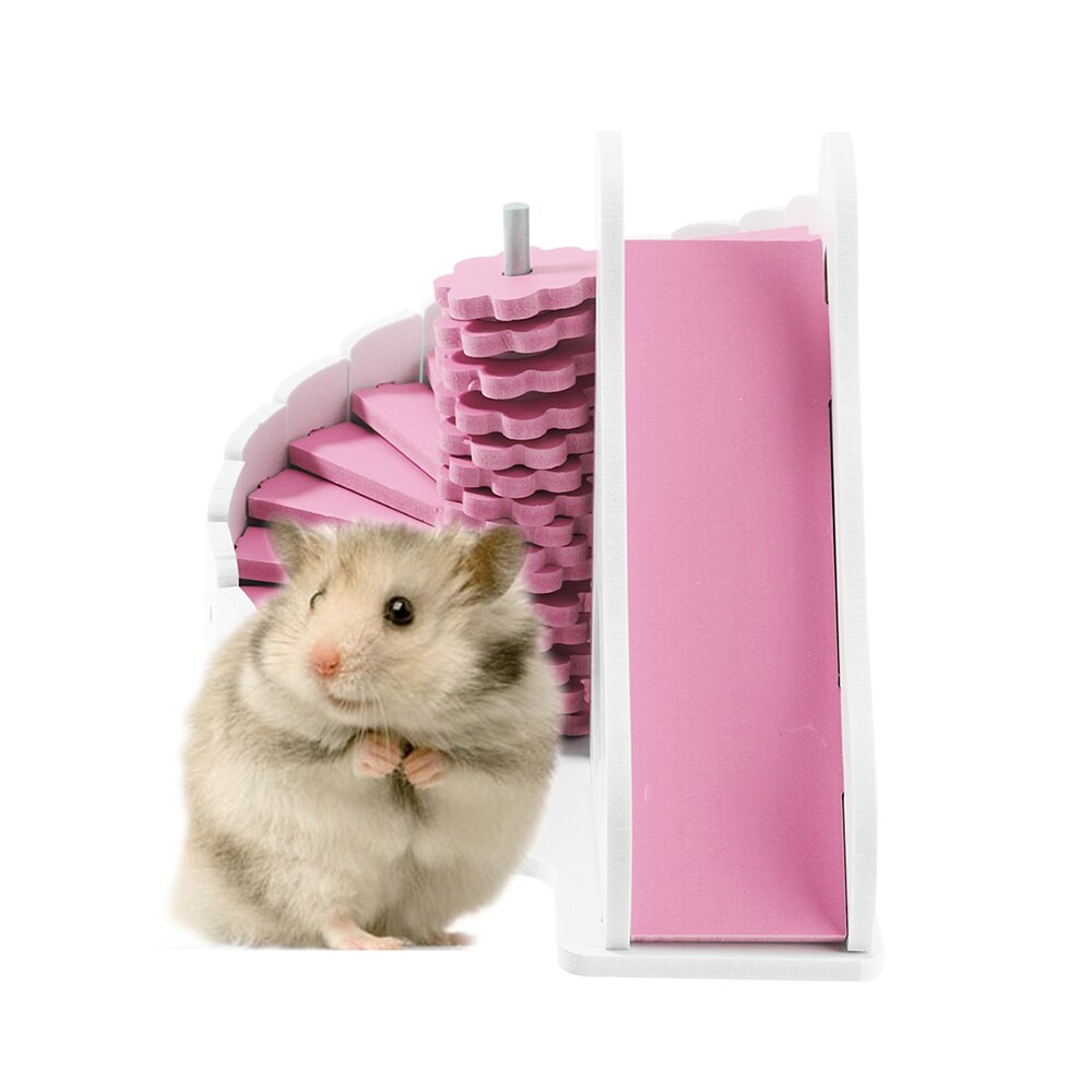 Lindo nido de hamsters casa jaula para Hamster juguetes para mascotas juguetes para circular deslizante balcón jaula para hamster, nido de madera tablero ecológico juguete de la casa