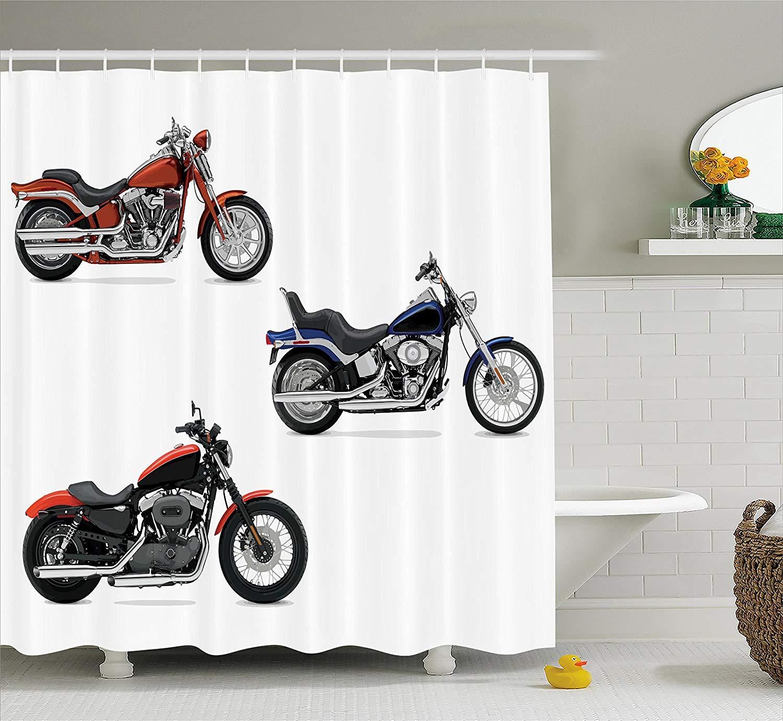 Decoración de motocicletas, cortina de ducha con ilustración de tres motocicletas, transporte libre, deportes extremos de riesgo, baño temático