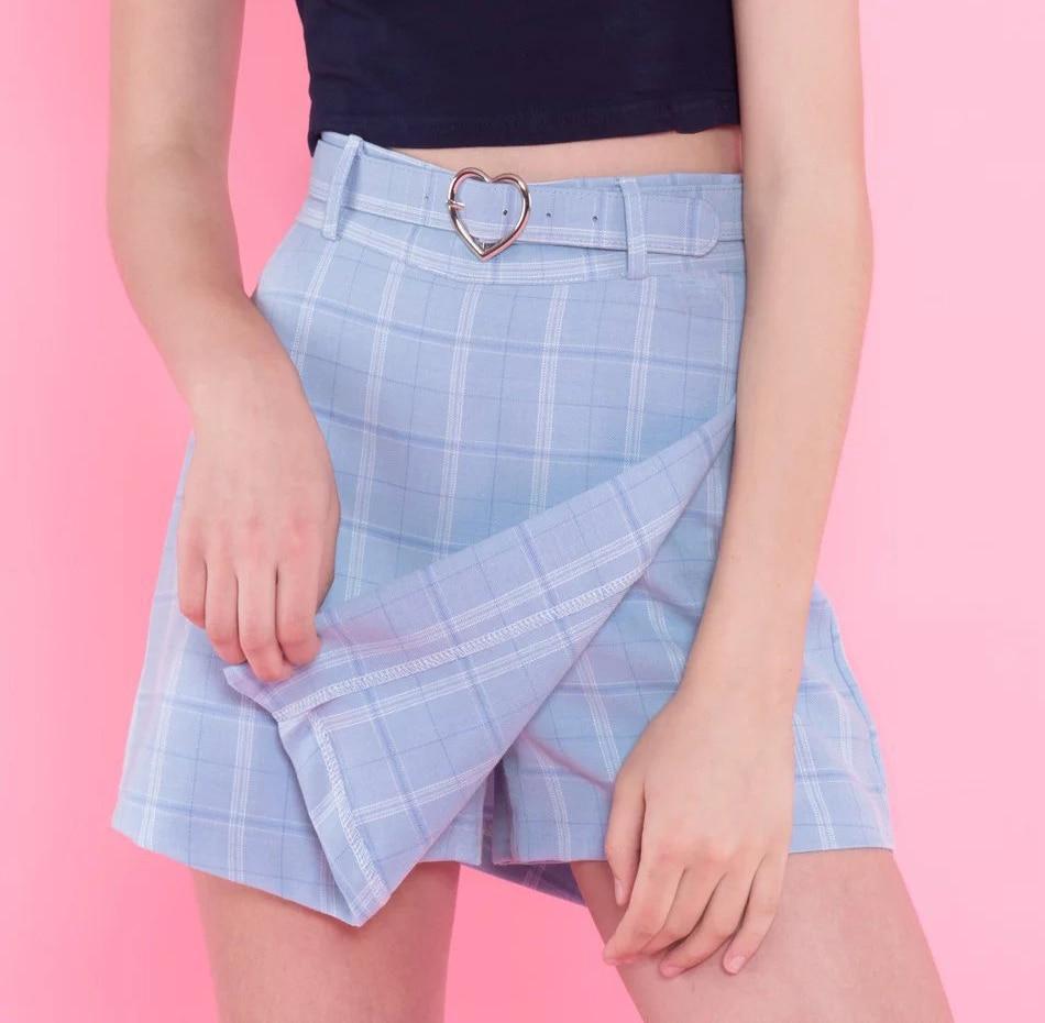 Summer New Ladies A-line Skirts Women Plaid Slim New Korean Fashion Belt Above Knee Mini Skirts Empire Shorts Skirts preppy