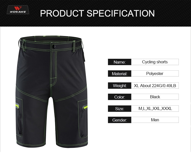 WOSAWE Black Motocross Pants Reflective MTB BMX Mountain Bike Racing Downhill Motorcycle MTB Shorts Outdoor Summer Sweatpants enlarge