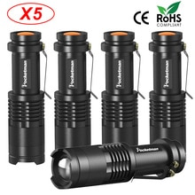 NEW Portable LED flashlight 3800 Lumens Q5 Zoomable 3 Modes aluminum Lanterna LED Torch Flashlights For Outdoor 5pcs/lot