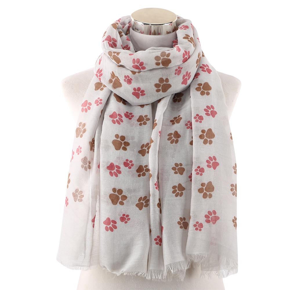 Winfox-écharpe de chien rose blanc bleu femme   Châtain, écharpe pour femme, Kawaii, écharpe à imprimé danimaux
