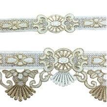Litchee Life-garniture en dentelle française or Royal, dentelle florale brodée, ruban, matériel de couture bricolage dentelle pour robe de mariée