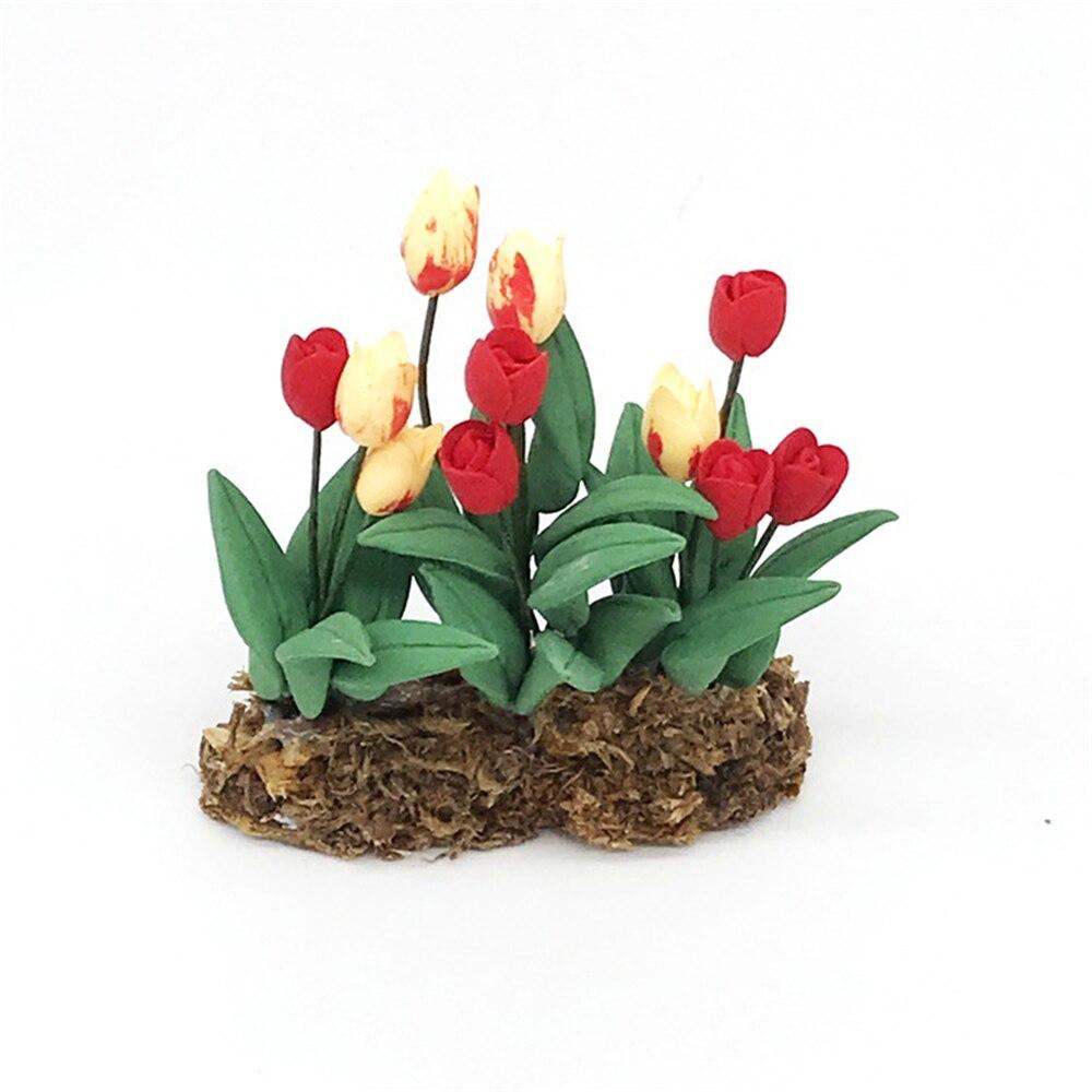 1/12 casa de muñecas accesorios en miniatura Mini tulipán simulación jardín modelo de flor juguetes para la decoración de la casa de muñecas