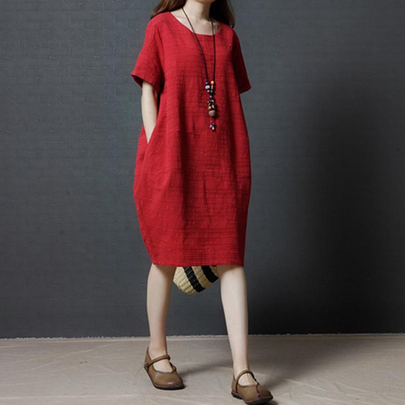 Yfashion verano mujeres suelta gran tamaño moda algodón Color sólido Vestido de manga corta chica ocio vestido de alta calidad Natural