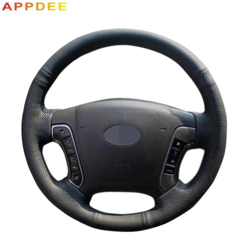 APPDEE Black Artificial Leather Car Steering Wheel Cover for Hyundai Santa Fe 2006-2012