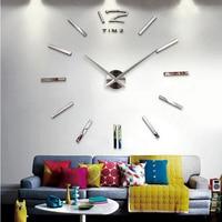 Настенные 3D-часы «сделай сам» для гостиной, акриловые зеркальные наклейки в виде часов на стену, кварцевая стрелка, европейские