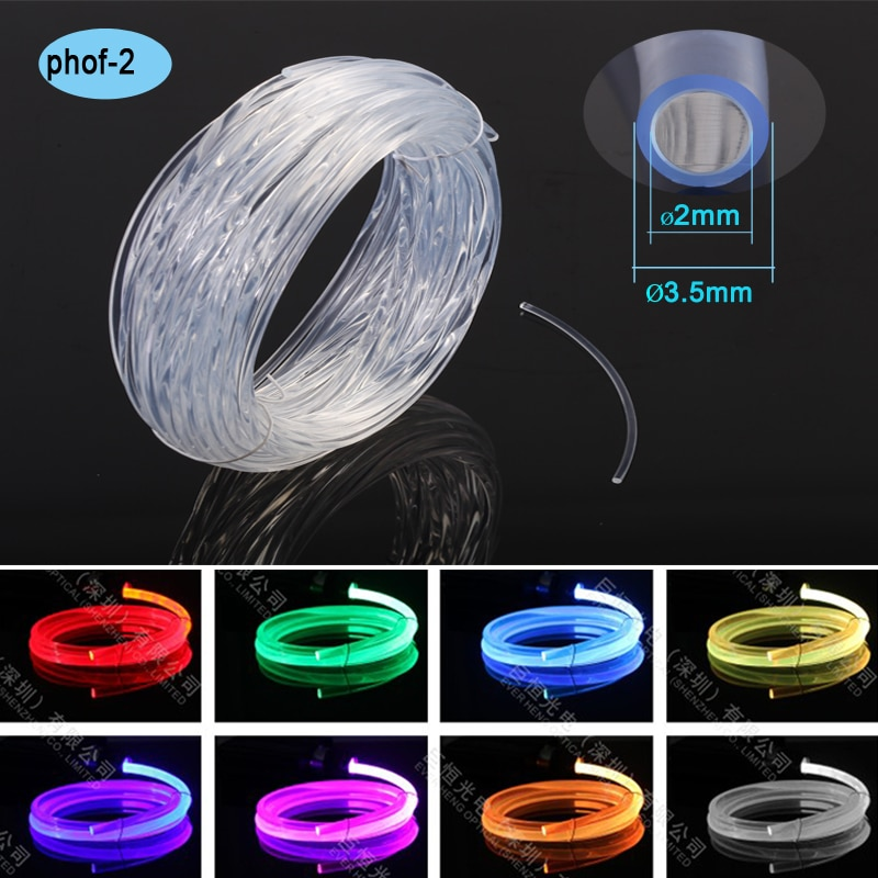 Protección ANTI-UV, 2,0mm, colores, decoración de piscinas, cable de iluminación de fibra óptica emisor lateral