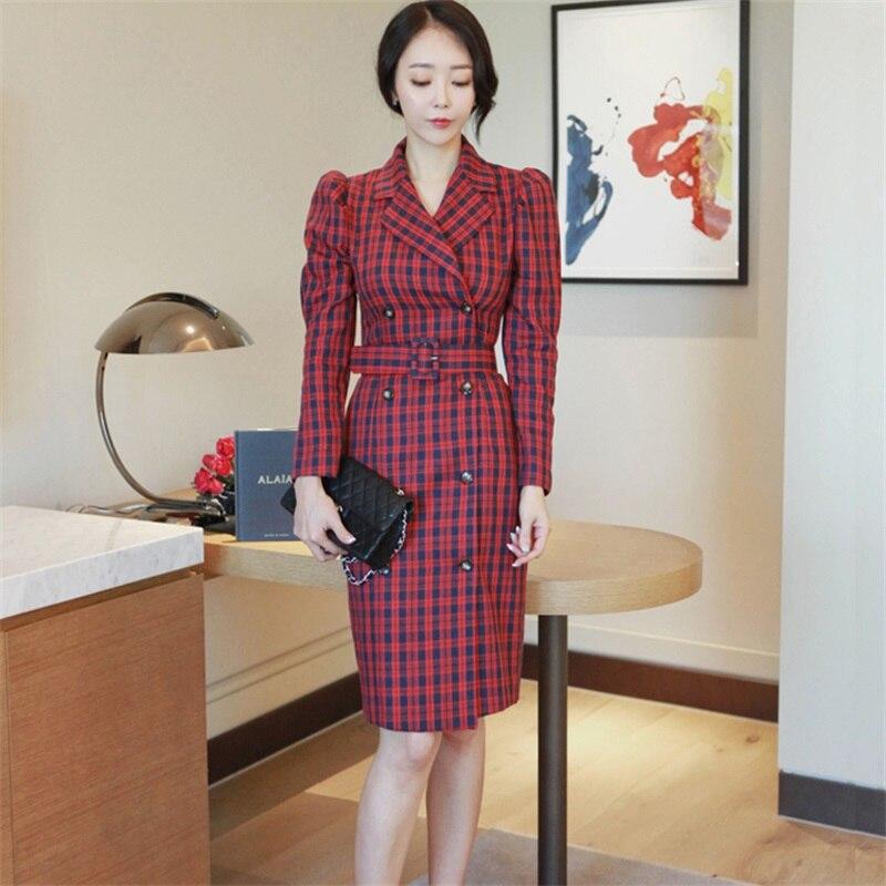 Alta calidad 2017 Otoño Invierno mujer Oficina señora vestido coreano estilo rojo tartán doble pecho vestido ajustado de manga larga