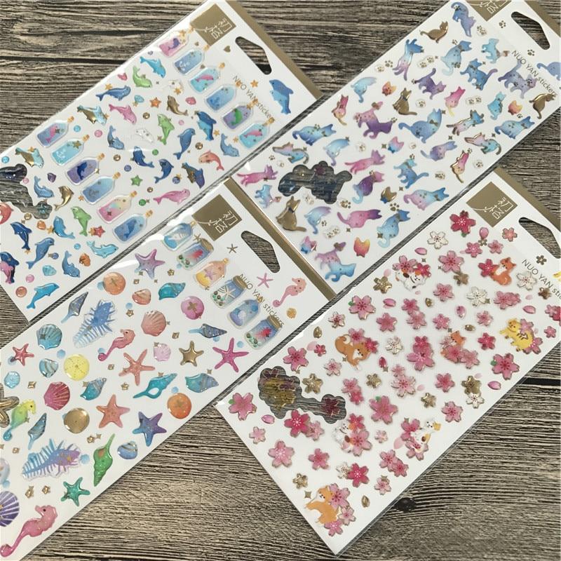 1 uds/1 paquete Kawaii Drift bottle dolphins tipo planificador diario pegatinas decorativas móviles arte de colección de recortes pegatinas de papelería
