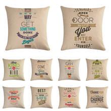 Motivation Quote Decorative Cotton Linen Cushion Cover 45x45cm For Sofa Chair Pillow Case Home Decor Almofadas Decoration ZY1159
