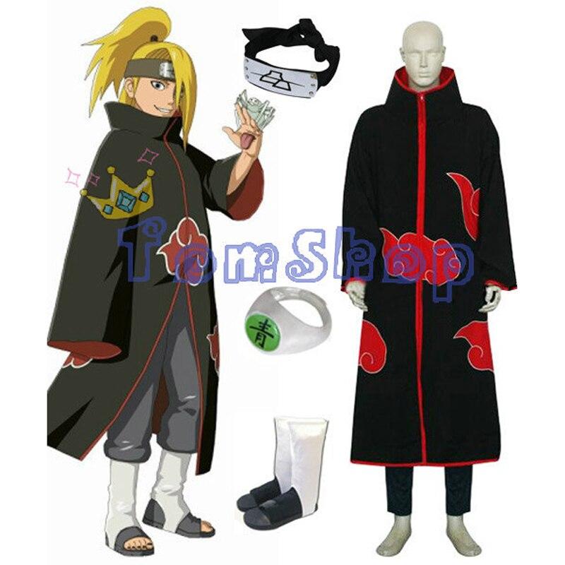 ¡Gran oferta! Anime Naruto Akatsuki deiara Cosplay traje Combo conjunto (capa + diadema + botas Ninja + anillo) Envío Gratis