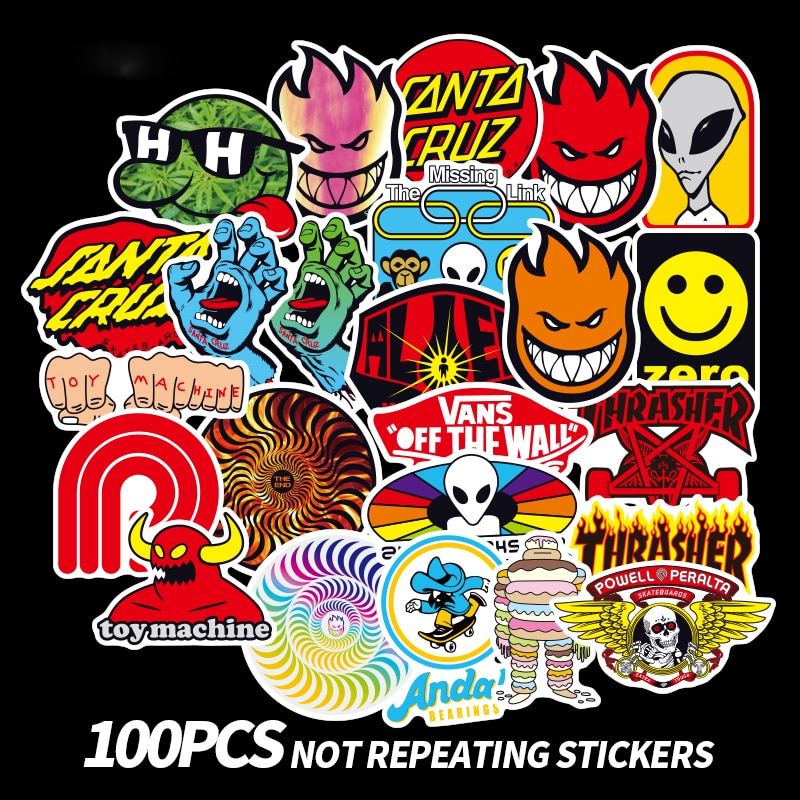 100 pçs skate marca de moda logotipo etiqueta à prova dwaterproof água para bagagem do carro guaitar skate telefone portátil bicicleta adesivos