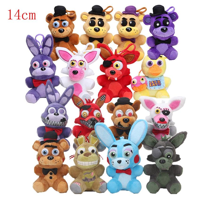 14cm fnaf plush keychain Five Nights At Freddy's plush toys Freddy Fazbear Chica Mangle Foxy Bonnie plush bag pendant toy