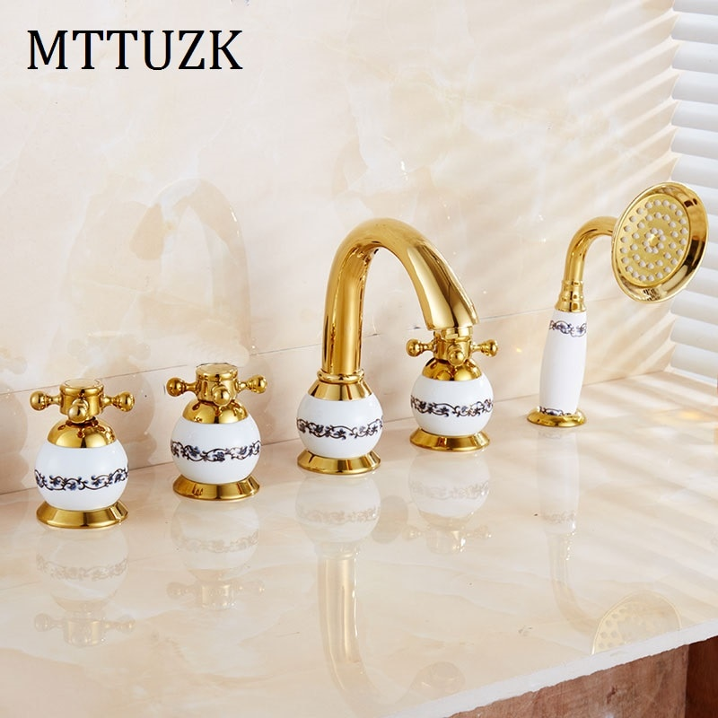 MTTUZK античная латунь золотой 5 шт Ванна fauce кран для ванной комнаты для горячей и холодной раковины кран с двойной ручкой 5 отверстий 5 шт./комп...