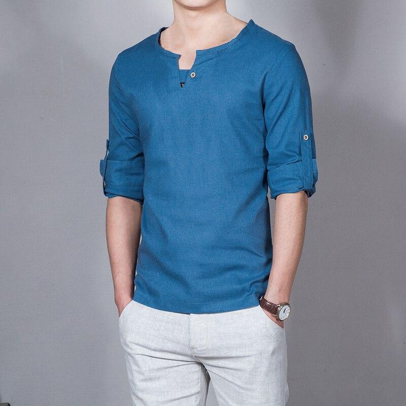Camiseta de verano de lino de color sólido para hombre, camiseta de negocios de manga larga con diseño de personalidad, Casual, delgada y transpirable
