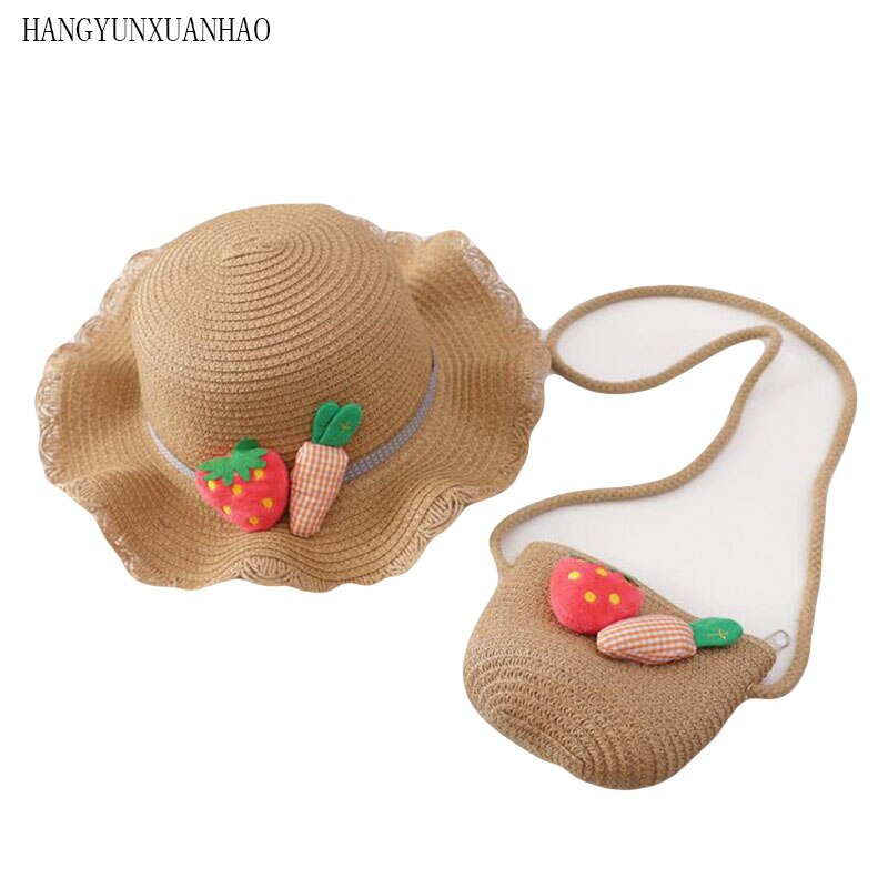 2019 New Boy Girls Straw Hats Strawberry carrot Summer Sun Hats for kids Children Beach Hats Foldable Sunscreen including Bag