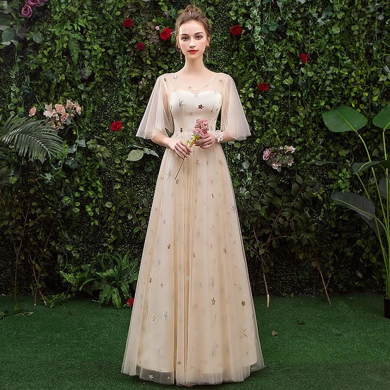 Exquisito verano estrella lentejuelas vestido de fiesta de noche Cheongsam elegante manga corta vestido de malla Qipao vestido de novia Vestidos de boda