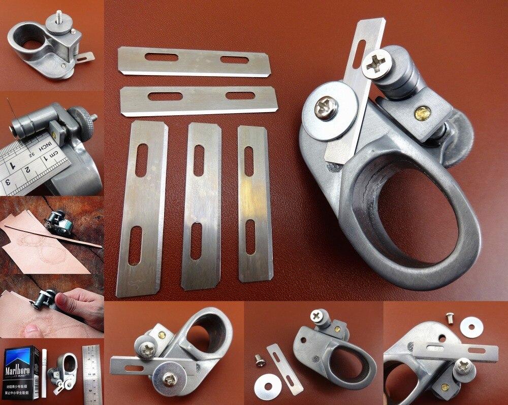 Tiras de encaje para manualidades de cuero y acero fundido, herramienta de amarre australiana + 5 cuchillas Extra, cortador de cuchillas, perforador de biselado