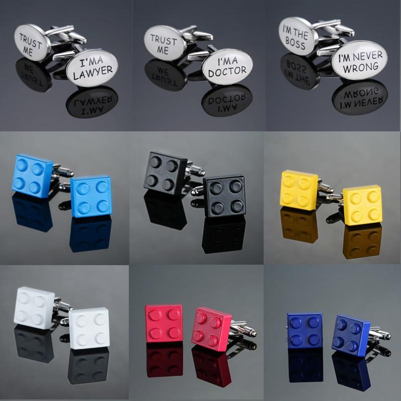 XK965, Envío Gratis, camisas de alta calidad para hombres, marcas de moda, gemelos de joyería, gemelos de 8 colores, gemelos de bloques de construcción