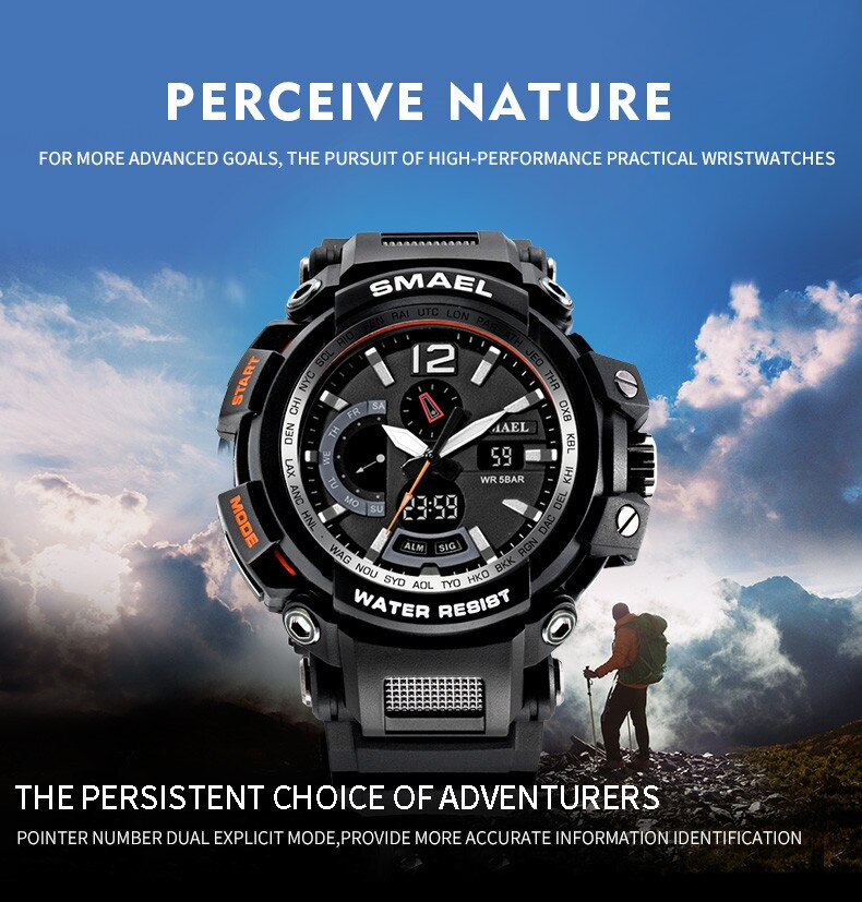 Reloj de moda para hombre, reloj electrónico Digital LED con pantalla Dual, reloj deportivo resistente al agua, reloj de pulsera para hombre, reloj luminoso para nadar correr