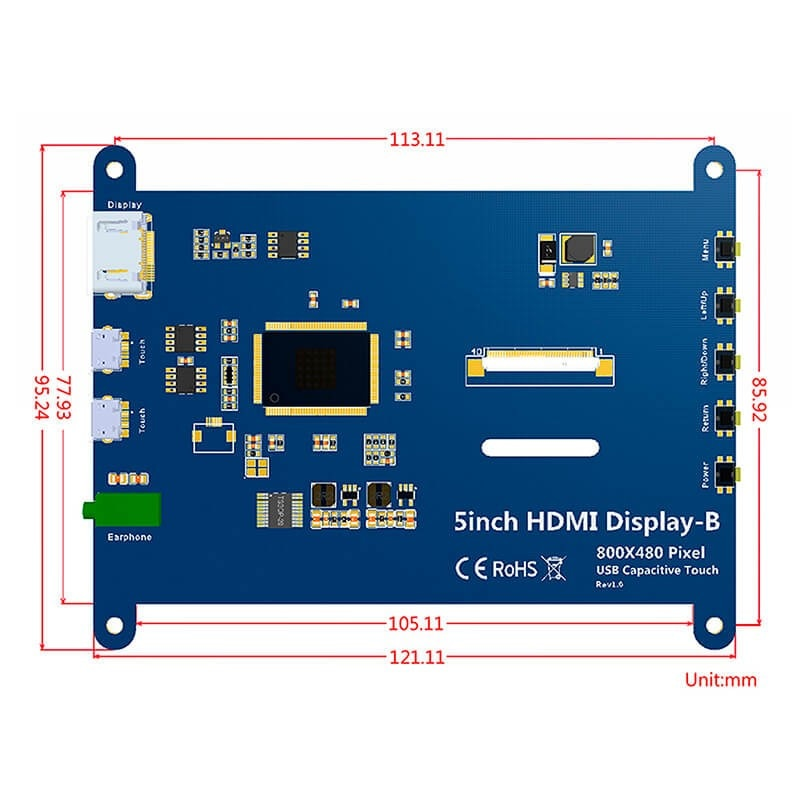 Écran tactile Portable Elecrow 5 pouces écran tactile HDMI 800x480 écran tactile capacitif LCD affiche écran framboise Pi 4
