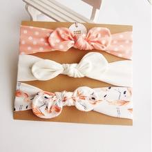 3 шт., милая повязка на голову с заячьими ушками для малышей, эластичная повязка на голову с бантом и цветами для маленьких девочек, детские аксессуары для волос в тюрбан
