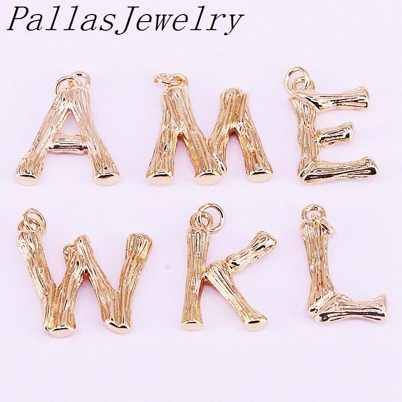 10 piezas de moda oro relleno A-Z letra intial colgante joyería collar