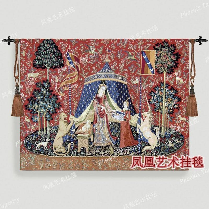 Noble woman wall hanging belgium tapestry 68X83 cm dress women medieval pictures decor aubusson Cotton home textile H104