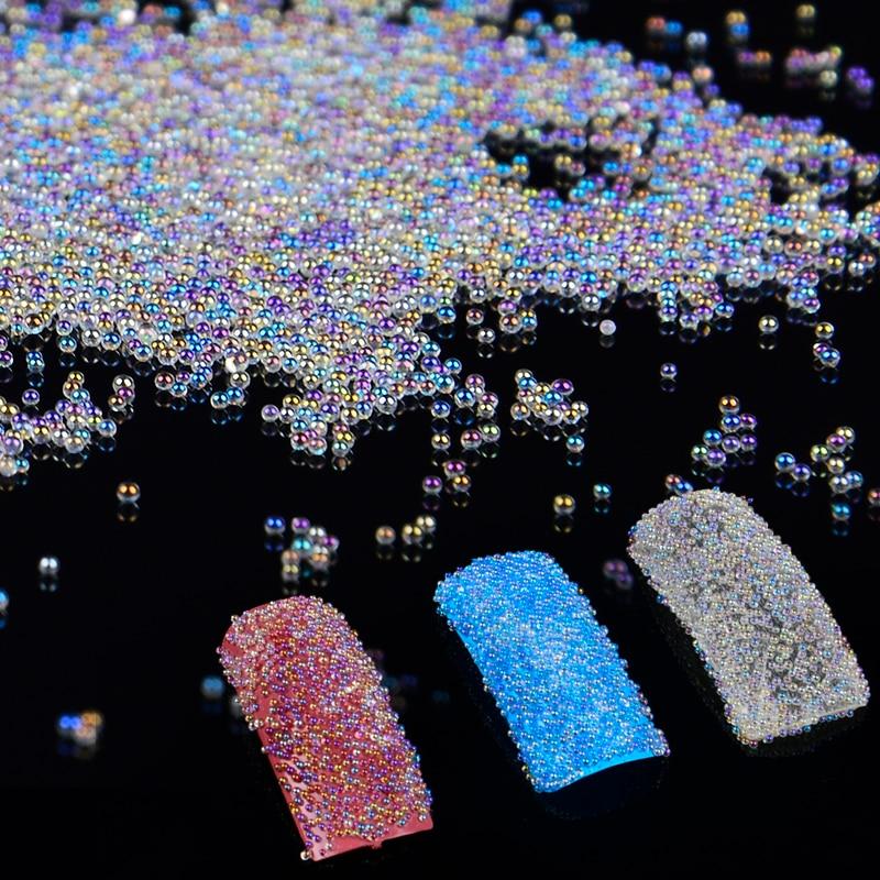 10g AB couleur clair Caviar perles Nail Art décoration Mini paillettes Micro perle Mini perles manucure Nail Art 3D décoration avec boîte