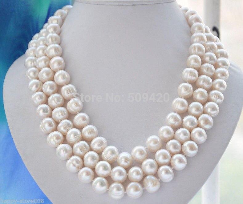 CRT57 envío gratis uge 13-12mm australiano akoya collar de perlas barrocas blancas 50 pulgadas