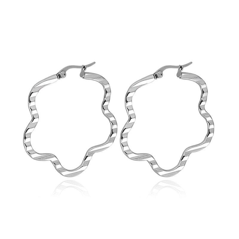 Moda de aço inoxidável oco geométrico ameixa orelha anel em relevo lote linhas flor orelha brincos hipoalérgicos para mulher