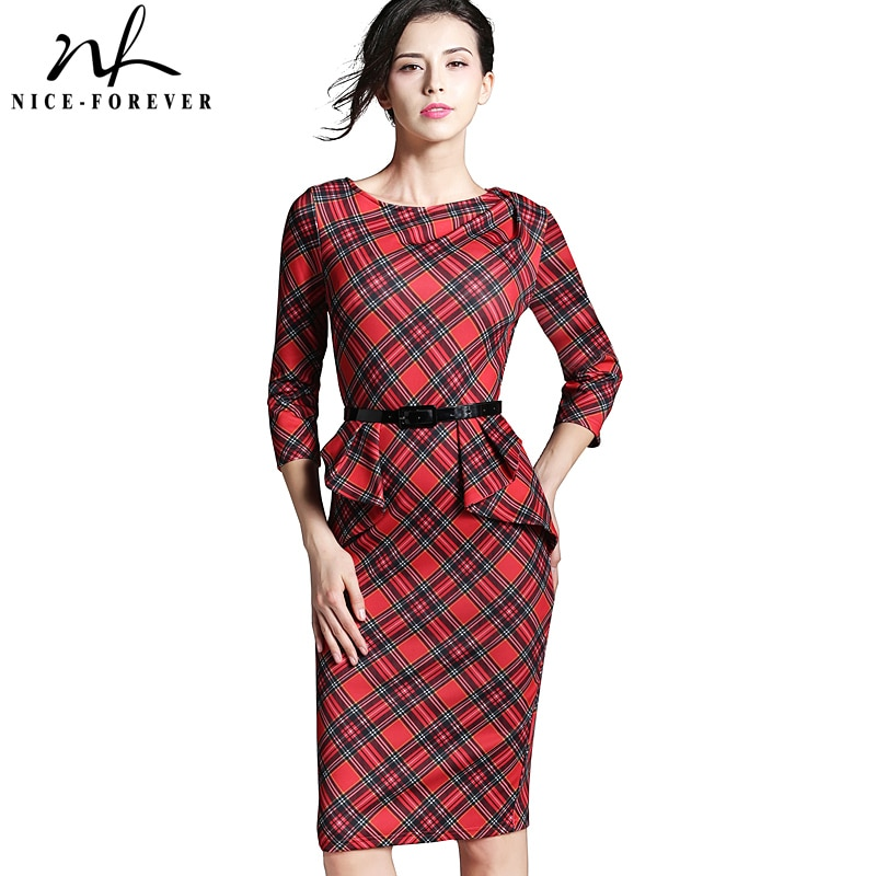 Nice-forever primavera señora Vintage tartán rojo Año nuevo vestido ajustado cuello redondo 3/4 manga cinturón Peplum Casual cremallera lápiz vestido B267