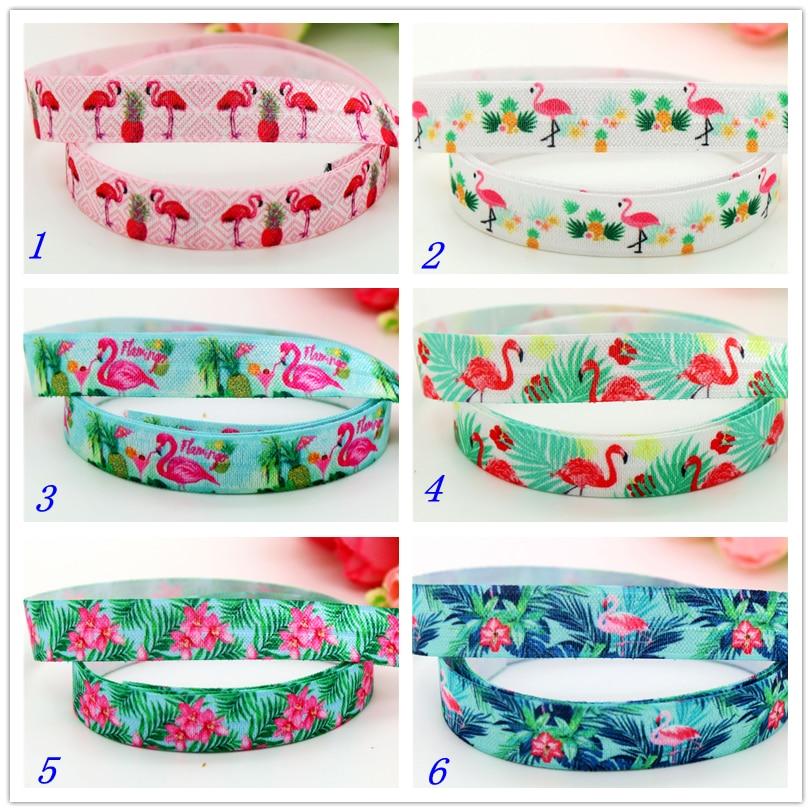 DHK 5/8'' 5yards Fold Elastic FOE flamingo pineapple  printed headband headwear hairband decoration OEM Wholesale C541