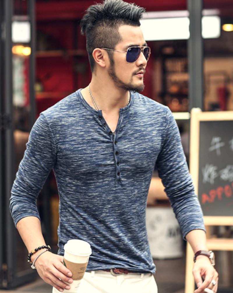 2019 new Tee Tops Long Sleeve Stylish Slim Fit T-shirt Button placket Casual Outwears Popular Design New Men Henley Shirt