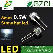 Envío Gratis 0,5 w de alta potencia dip led 10000MCD 8mm sombrero de paja blanco led diodo 6000-8000 K 120mA