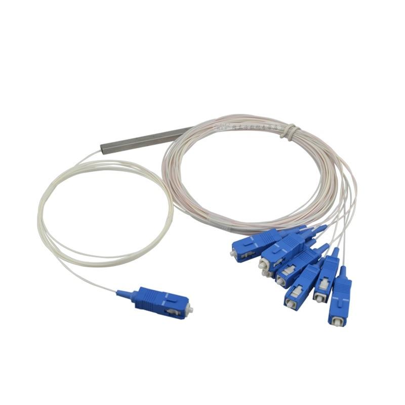 Free Shipping 4pcs/lot 0.9mm Loose Steel Tube 1x8 Mini SC/UPC Fiber Optical PLC Splitter