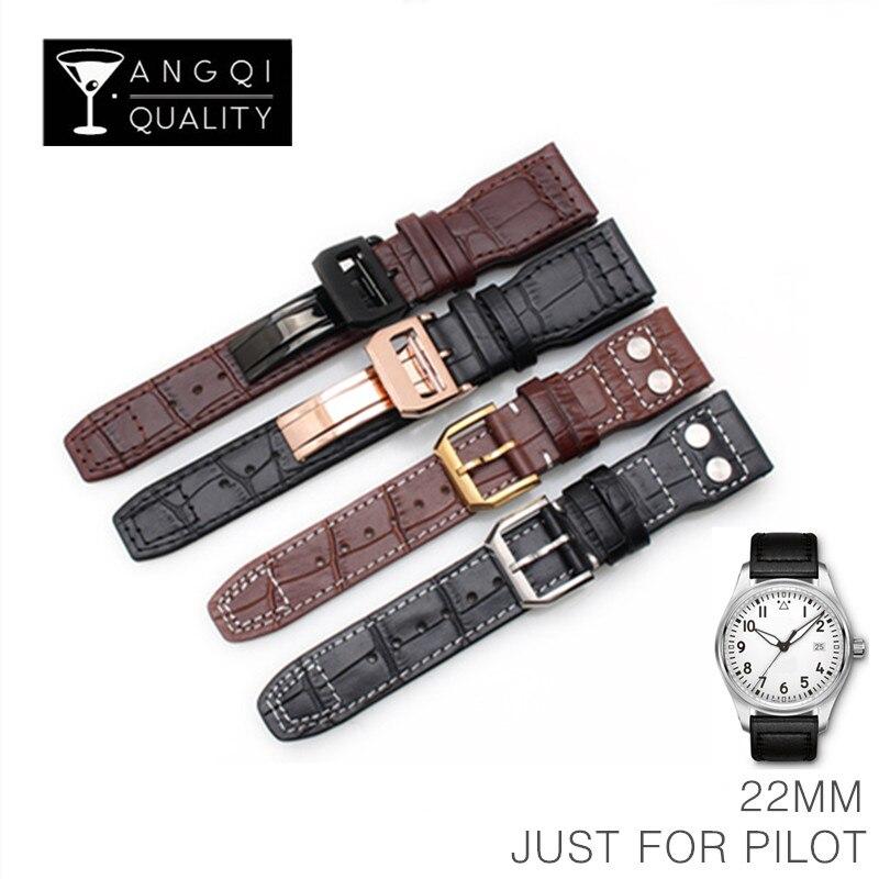 22mm de Piel De Becerro de la venda de reloj para piloto IWC relojes de muñeca correa de acero reloj de pulsera de hombre de moda de la muñeca con herramientas