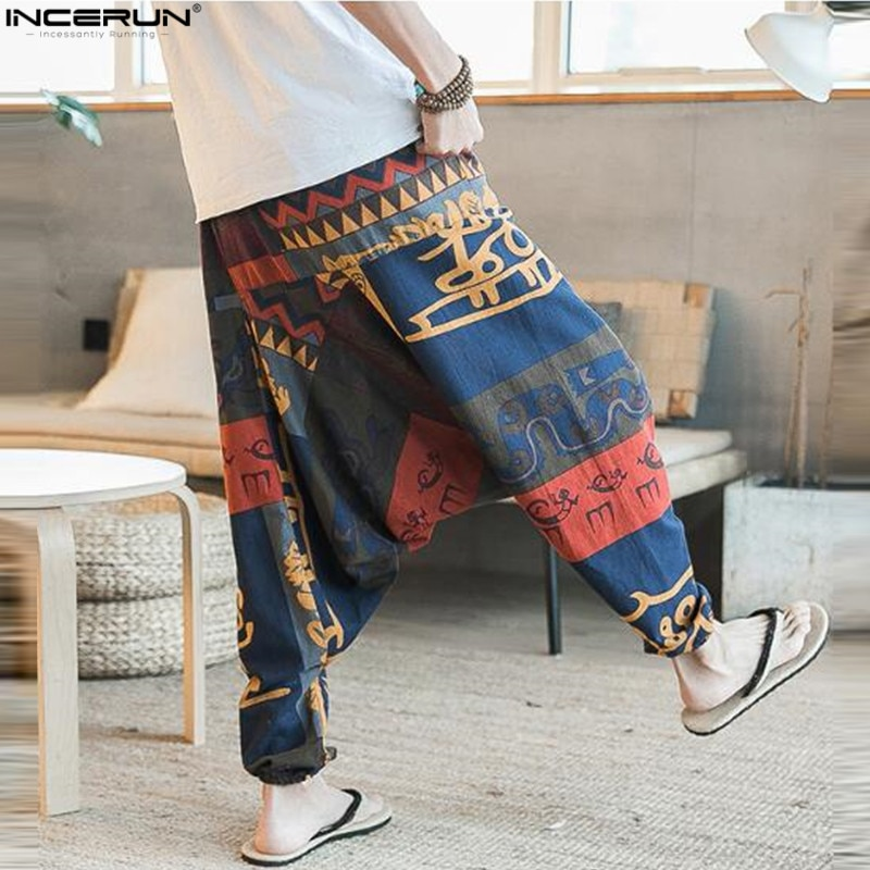 Longgar Kapas Linen Celana Harem Pria Hip Hop Wanita Plus Ukuran Lebar Kaki Celana Kasual Vintage Celana Panjang Pantalones Hombre 2021 Leather Bag