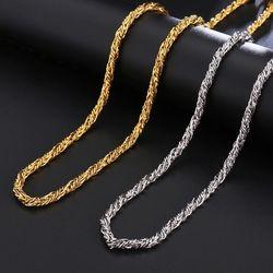 Jóias por atacado -- 316l titânio aço 60cm torção corda corrente colares para homens não desvanece-se branco/cor do ouro