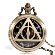 Retro Bronze Triangle The Deathly Hallows Lord Analog Quartz Pocket Watch Necklace Collectibles for