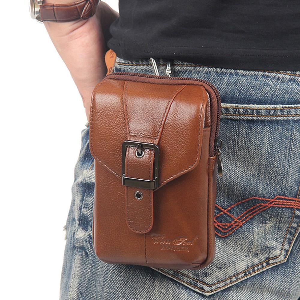Männer Rindsleder Echtes Leder Fanny Taille Tasche Marke Berühmten Gürtel Hüfte Bum Zelle/Handy Zigarette Fall Geldbörse packung Beutel