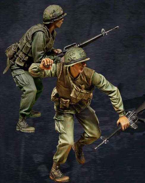 1/35 шкала Неокрашенная резиновая фигурка, вьетнамские войны, США, огня в отверстии