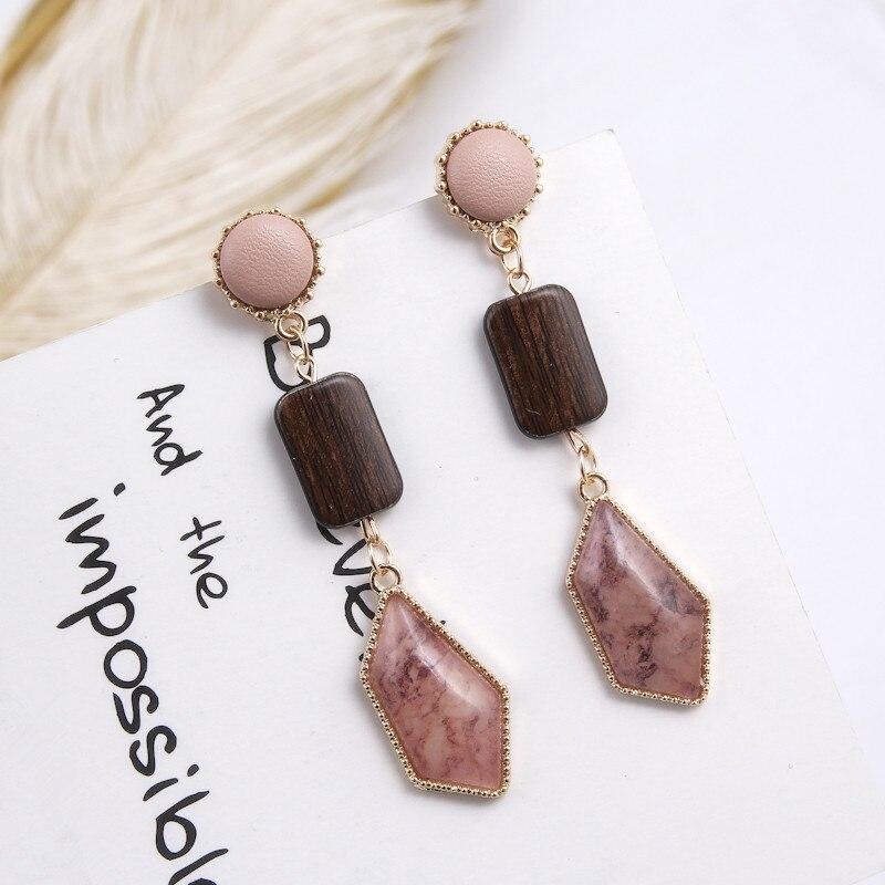 Новые модные деревянные серьги для женщин, геометрические серьги с неровным камнем, длинные серьги, корейские европейские ювелирные издели...