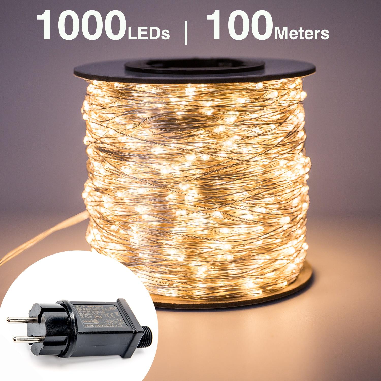 30m 50m 100m LED String Lichter straße fee Licht Wasserdicht für Outdoor Weihnachten Fee Lichter Urlaub Hochzeit dekoration