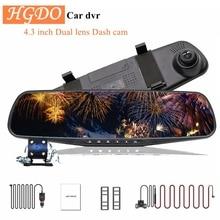 HGDO 4,3 Car DVR Dual Objektiv Auto Kamera Full HD 1080P Video Recorder Rückspiegel Mit rückansicht DVR dash cam