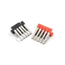 Pinces Alligator métalliques   Clips rouge + noir 32mm, Clips Crocodile isolés, poignée en plastique, câble plomb test 10 pièces/lot